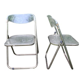 Italian Mid-Century Lucite Folding Chairs - A Pair For Sale