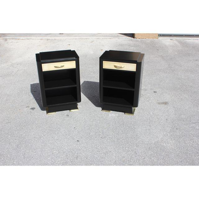 Classic Pair Of French Art Deco Parchment/ Ebonized Side Table / Nightstands, Circa 1940's - Image 2 of 11