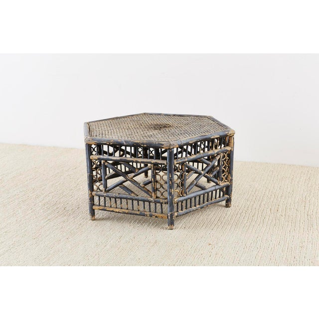 Hexagonal Bamboo Brighton Chinese Chippendale Cocktail Table For Sale In San Francisco - Image 6 of 13