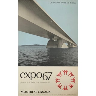 1967 Montreal Vintage Poster, Expo 67, Bridge to 70 Countries (Spanish) For Sale
