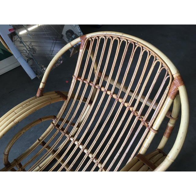 "Wicker Restored Franco Albini Style ""Day Dreaming"" Rattan Rocking Lounge Chair For Sale - Image 7 of 9"