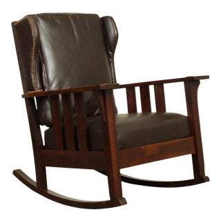 Charles Stickley Antique Mission Oak Brown Leather Rocker For Sale