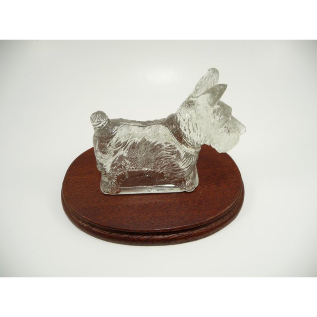 Vintage Glass Scottie Dog Figurine on Oval Wood Base - Image 3 of 6