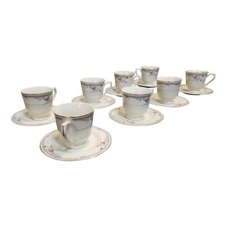 Set 8 Porcelain Sango Regency Collection Fine Ivory China #1030 Heather Pattern Cups & Saucers For Sale