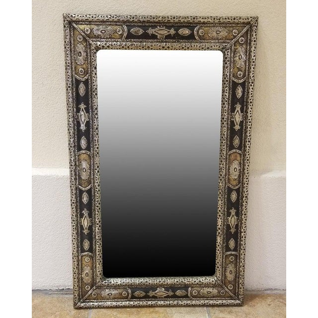 Metal Moroccan Rectangular Metal Inlaid Mirror For Sale - Image 7 of 8