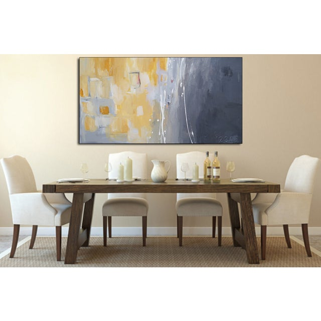 """Abstract """"50 Shades of Gray & Yellow"""" Giclee Canvas Print For Sale - Image 3 of 4"""