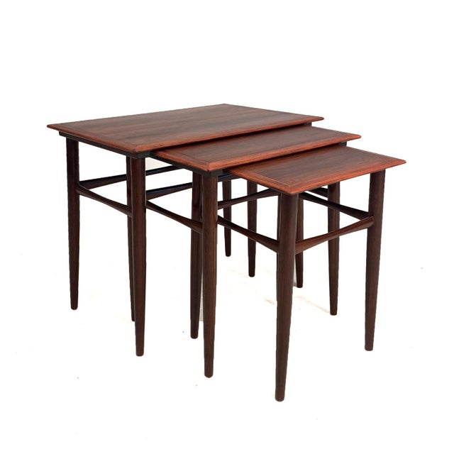 Wood Vintage Danish Rosewood Nesting Tables For Sale - Image 7 of 7