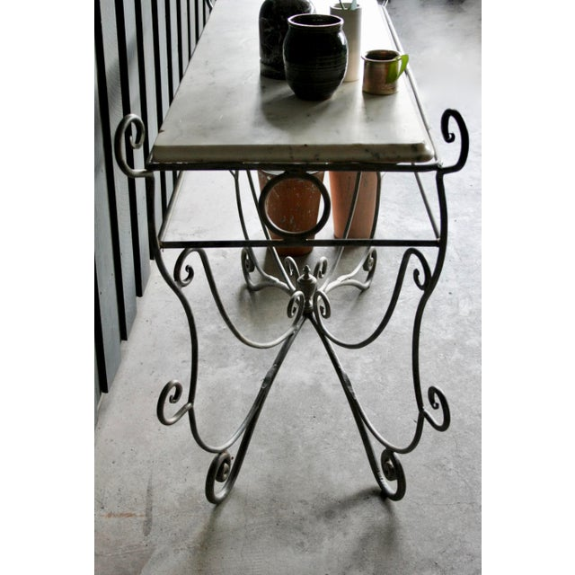 French Scrolled Iron Butcher / Pastry Table With White Marble Top For Sale - Image 10 of 13