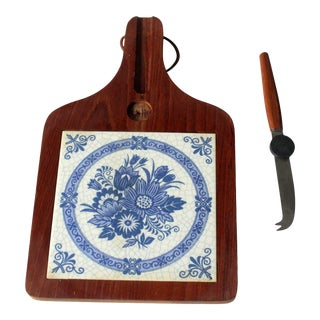 1950s Vintage German Wooden Cutting Board With Knife For Sale