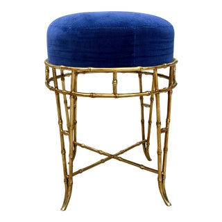 1970s Vintage Gold Faux Bamboo Metal Vanity Stool For Sale