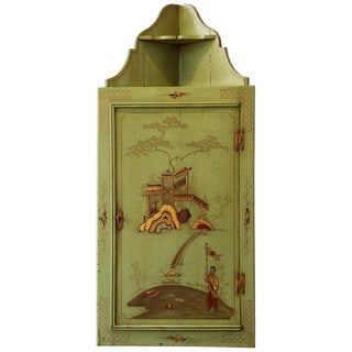 English Chinoiserie Decorated Hanging Corner Cupboard For Sale