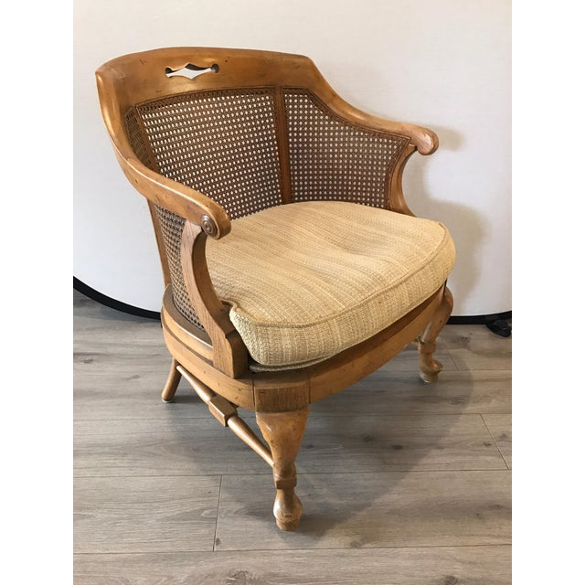 Barrel back caned chair in beautiful condition from France, circa 1960s.