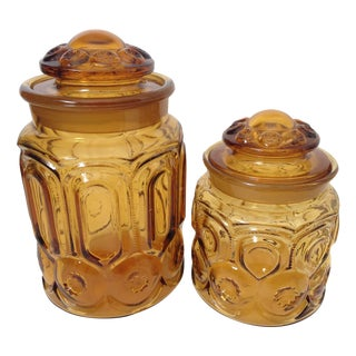 L.E. Smith Amber Moon Glass Canisters - A Pair For Sale