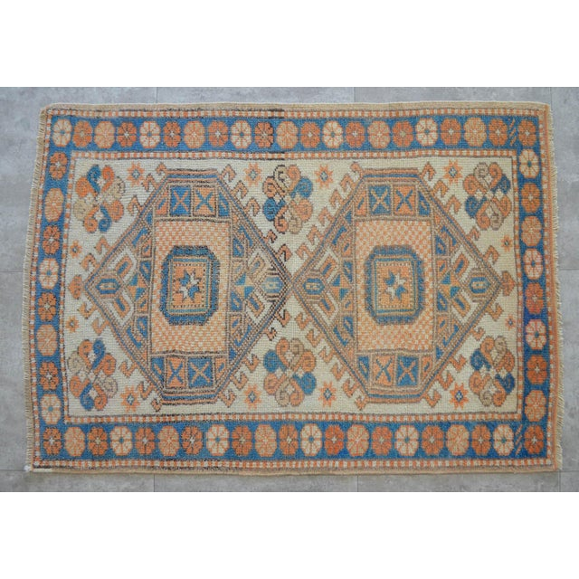 Vintage Low Pile Turkish Rug Hand Knotted Small Area Rug - 3′ X 4′4″ For Sale - Image 9 of 9