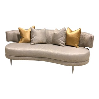 Modern Caracole Oval Designer Sofa & Pillows For Sale