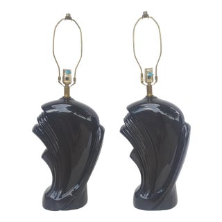 A Pair- Vintage Art Nouveau Black Lamps For Sale
