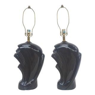 """A Pair- Vintage Art Nouveau """"Wave"""" Black Ceramic Lamps For Sale"""