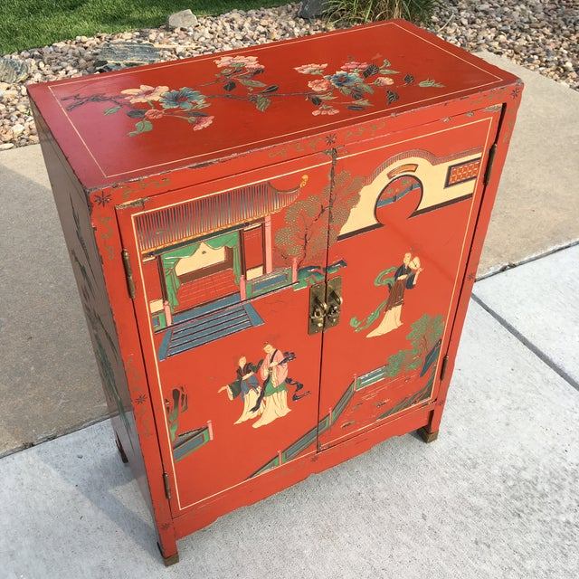 Metal Early 20th Century Chinoiserie Hand Painted Cabinet For Sale - Image 7 of 13