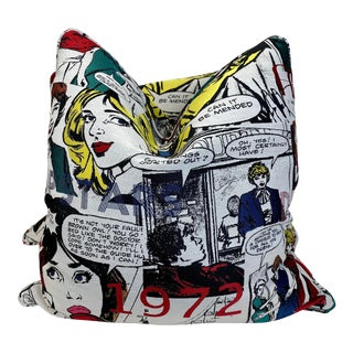 """Girl Power"" Woven Comic Strip 22"" Pillows-A Pair For Sale"