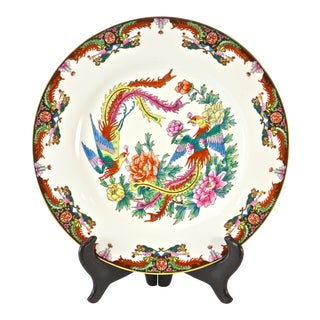 Chinese Double Phoenix Porcelain Plate W/ Stand For Sale