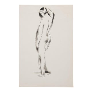 1933 Vintage Konrad Cramer Female Nude Study Drawing For Sale