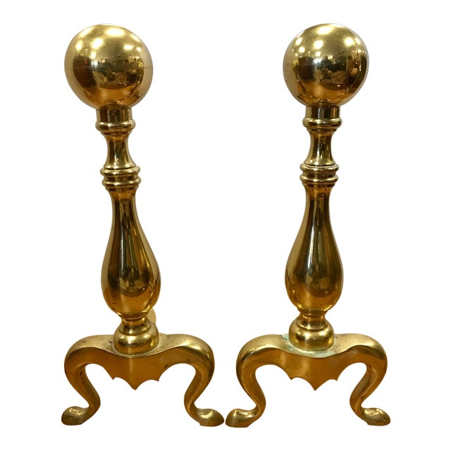 New England Solid Cast Brass Andirons Fire Dogs - A Pair For Sale