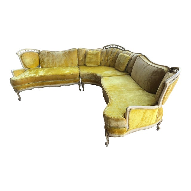 Hollywood Regency Yellow Velvet Italian Sectional For Sale