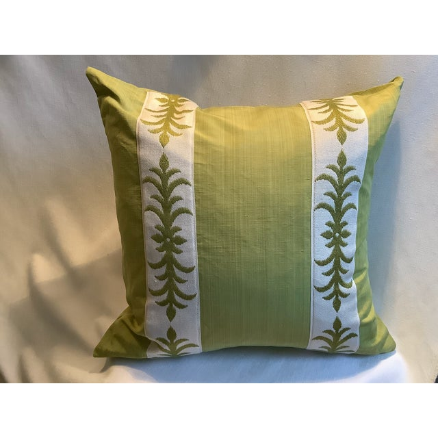 Pair of custom pillow covers in Clarence House's 'verram strie' in a beautiful 'apple green' with applied embroidered tape...