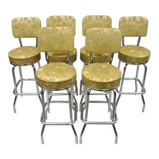 Mid Century Modern Krometal Mfg Metal Swivel Bar Stools- Set of 6 For Sale