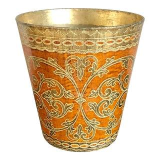 Vintage Orange Gold Florentine Wastebasket For Sale