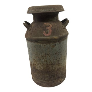 Vintage Rustic Metal 10 Gallon Milk Can For Sale