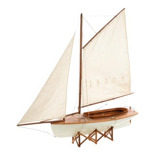 C. 1920s Antique Model Wooden Sail Boat With Stand
