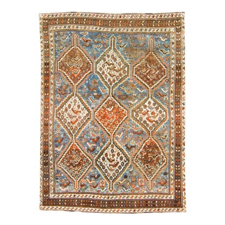 1910s Antique Geometric and Figural Brown Blue Wool Hand-Knotted Rug For Sale