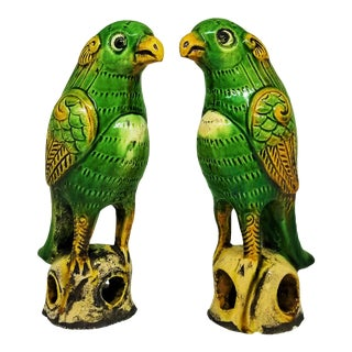 Rare Antique Qing Dynasty Ceramic Parrot Figurine Sculptures - Feng Shui - a -Pair Qianlong Chinese Asian Tropical Coastal Palm Beach Boho Chic For Sale