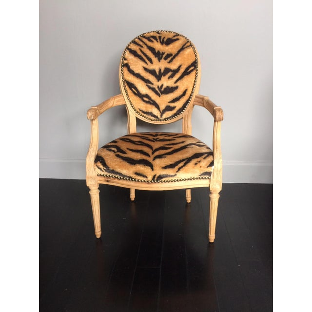 Early 20th Century Tiger Print Arm Chair For Sale - Image 5 of 5