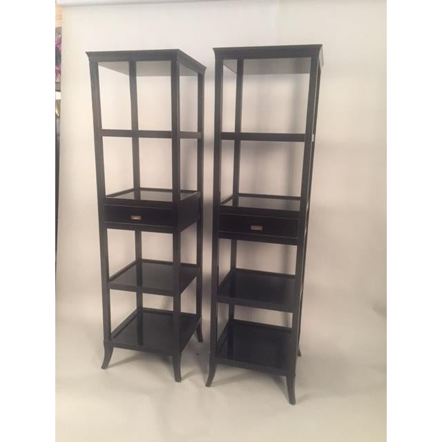 Contemporary Wood Black Lacquered Etagere Shelves - A Pair For Sale - Image 4 of 9