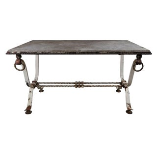 19th Century Wrought Iron Table With Marble Top