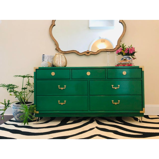 Stunning Hollywood Regency style, 7 drawer dresser/sideboard/etc. . . Lacquered in Clover Green with brass trim/hardware...