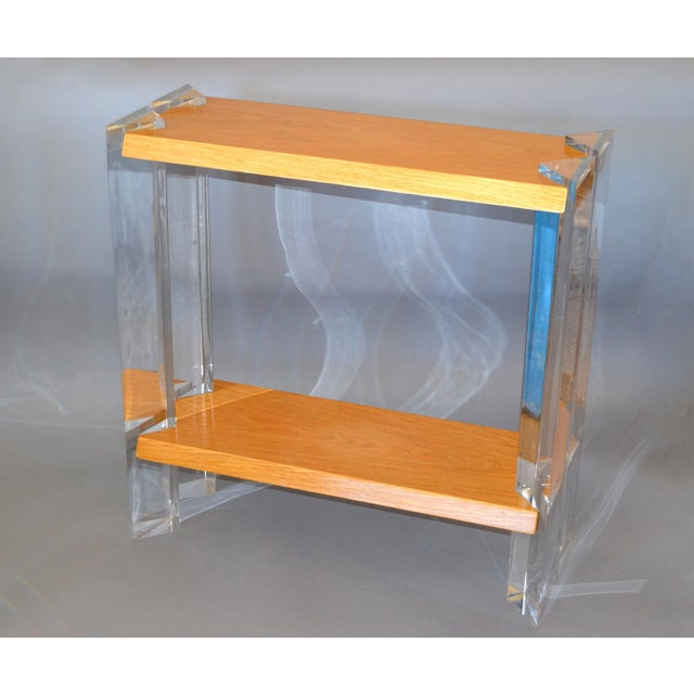 Italian Mid-Century Modern Oak & Acrylic Two Tier Console Table Bookshelf, 1960s For Sale In Miami - Image 6 of 13
