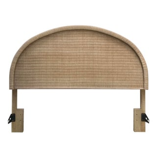 Boho Chic Arched Natural Woven Wicker Queen Headboard For Sale