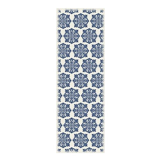 Blue & White Modern European Design Rug - 2' X 6'