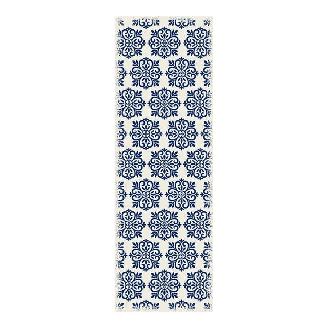 Blue & White Modern European Design Rug - 2' X 6' - Image 1 of 3