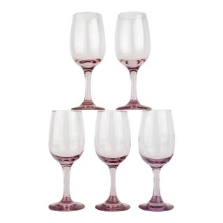 Light Pink Wine Glasses - Set of 5