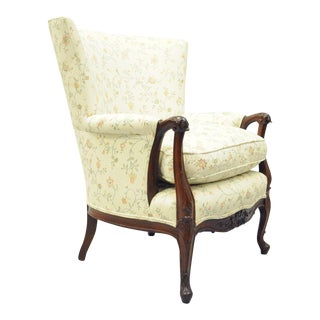 Antique French Louis XV Style Hollywood Regency Mahogany Wing Back Arm Chair For Sale