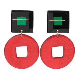 Italian Dangling Lucite Clip on Earrings Red and Black Glitter Pattern For Sale