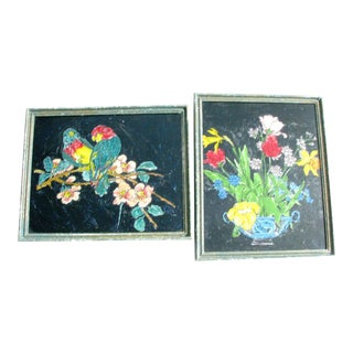 Antique Americana Folk Art Tropical Birds and Still Life / Floral Bouquet Tinsel Paintings - a Pair For Sale