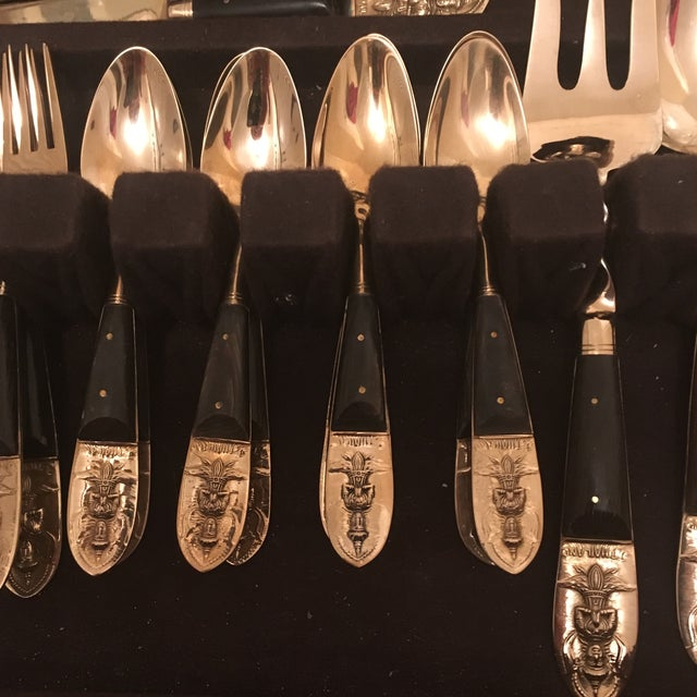 Mid Century Brass and Rosewood J. Thailand Flatware Set 28 Pieces For Sale In Baltimore - Image 6 of 12