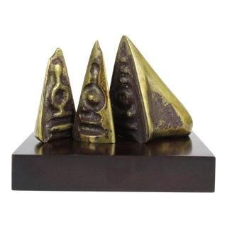 1970s Abstract Brutalist Bronze Sculpture