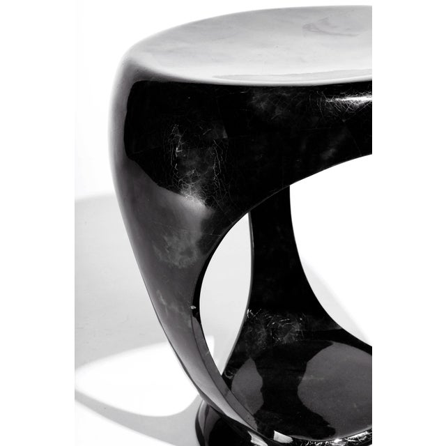 Ring Stool in Black Shagreen and Bronze-Patina Brass by R&y Augousti For Sale - Image 12 of 13