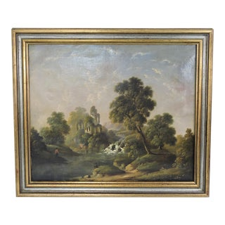 Antique Oil on Canvas Landscape Painting, Late 19th Century For Sale